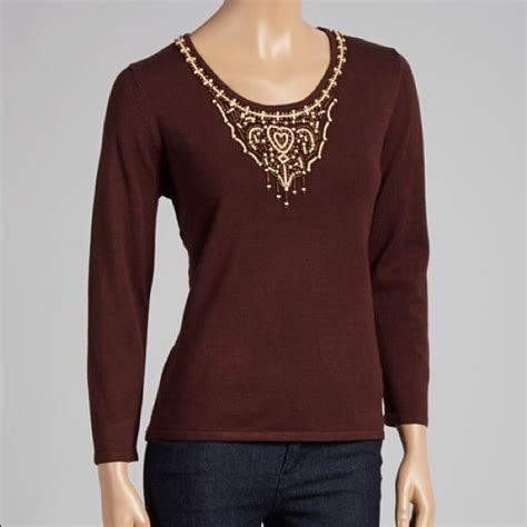 Rafael Top Knit 72 rafael tops brown bead embellished knit sweater