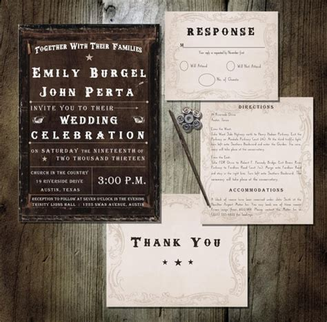 printable wedding invitation western theme brown background