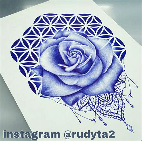 tattoo pen rose rose pen drawing done on paper by artist rudy acosta from