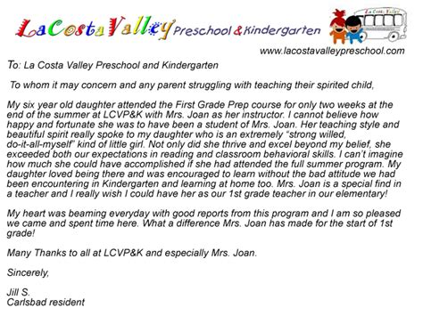 Recommendation Letter For Kindergarten From Parent Parent Testimonials La Costa Valley Preschool And Kindergarten
