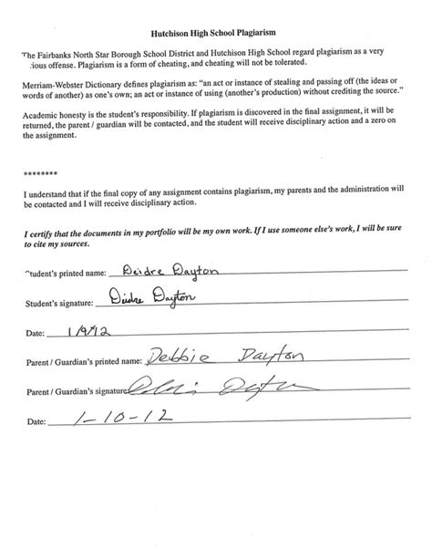 Letter Of Recommendation For Research Project Signed Plagiarism Form Dayton S Senior Project