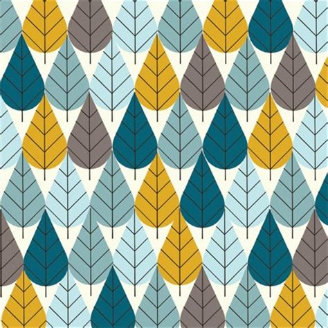modern pattern quilted fabric charley harper octoberama leaves trees mid century modern
