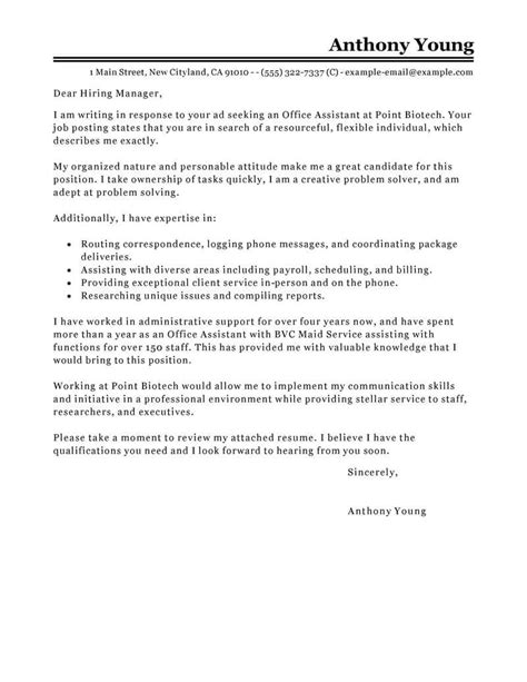 Office Assistant Resume Cover Letter by Best Office Assistant Cover Letter Exles Livecareer
