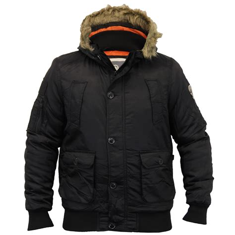 Mens Quilted Parka by Crosshatch Mens Heavy Fur Hooded Jacket Parka Padded