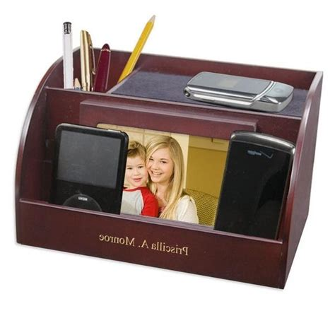 Desk Organizer With Valet Station And Photo Frames Photo Desk Organizer