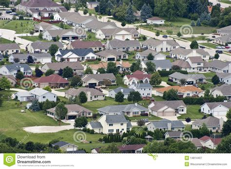 aerial view neighborhood houses homes residences stock