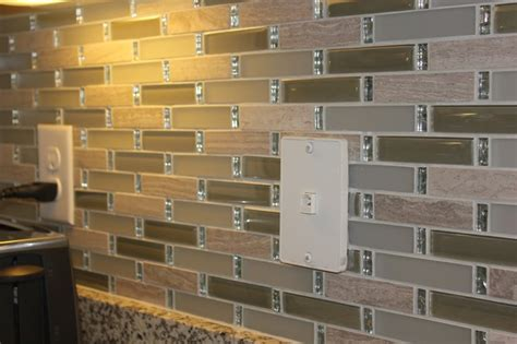 tile backsplash with bling was added above the kitchen