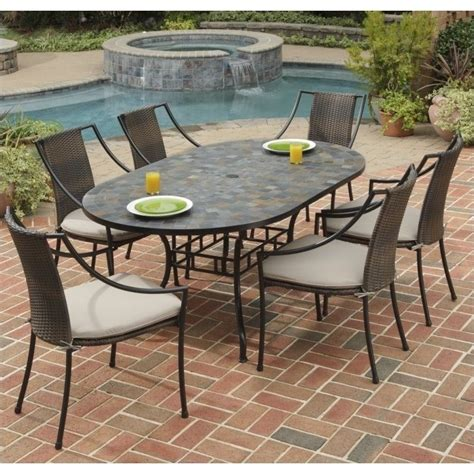 Outdoor Dining Sets Metal 7 Metal Patio Dining Set In Black 5601 338