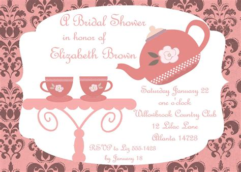 bridal shower tea party invitations bridal shower tea