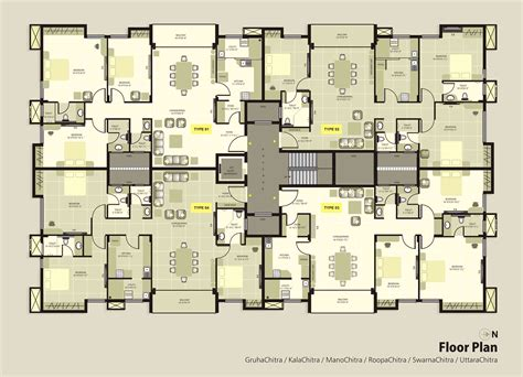 Four Bedroom House Floor Plans by Krc Dakshin Chitra Luxury Apartments Floorplan Luxury