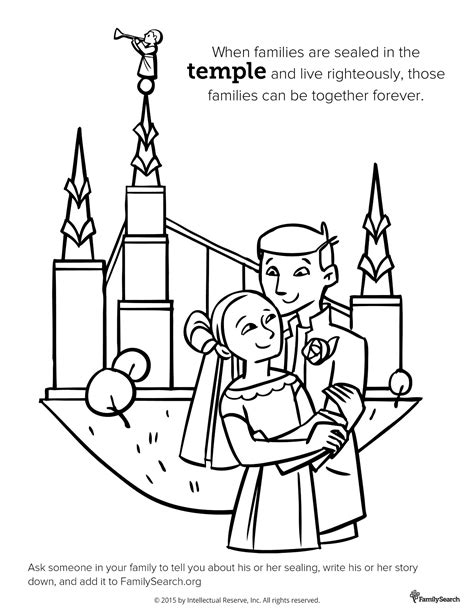 lds coloring pages families can be together forever temple sealing