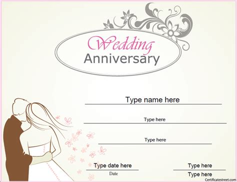 anniversary certificate template relationships certificates wedding anniversary