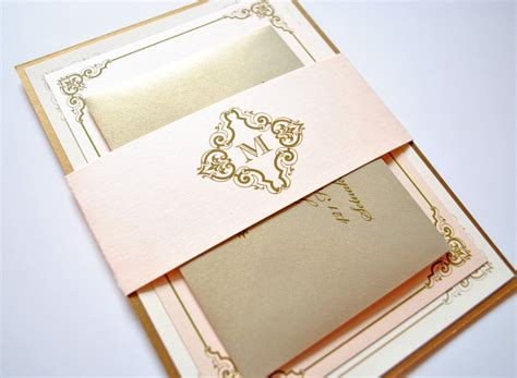 Gold Wedding Invitations by Blush And Gold Wedding Invitations Vintage Blush Chagne