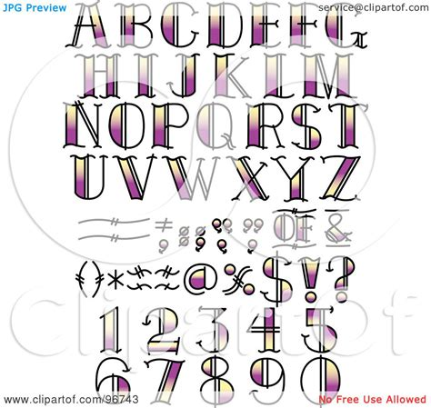 Royalty Free Rf Clipart Illustration Of A Digital Tattoos Lettering And Numbers