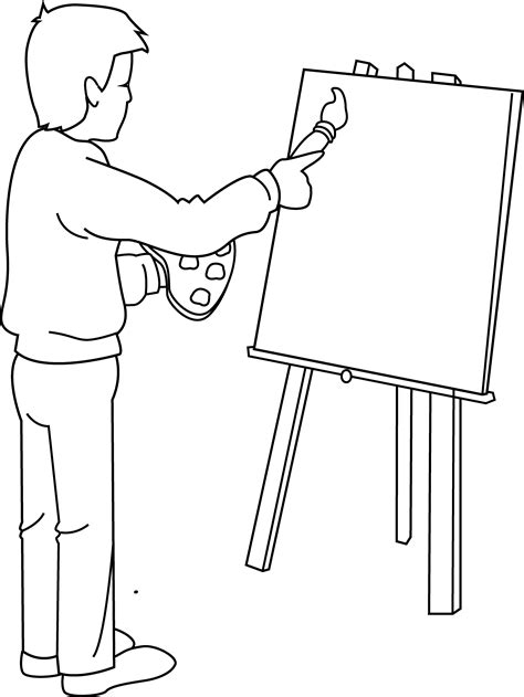 Coloring Page Of Artist Painting Free Clip Art Artist Coloring Page