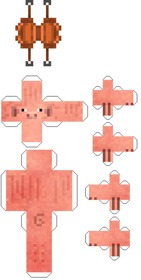 Minecraft Pig Papercraft - papercraft pig with saddle