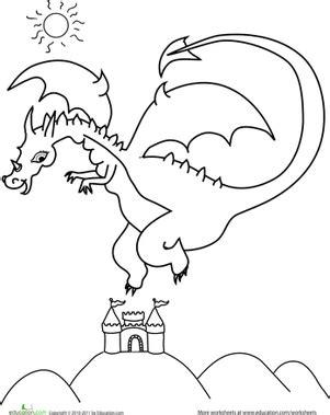 color the flying dragon worksheet education com