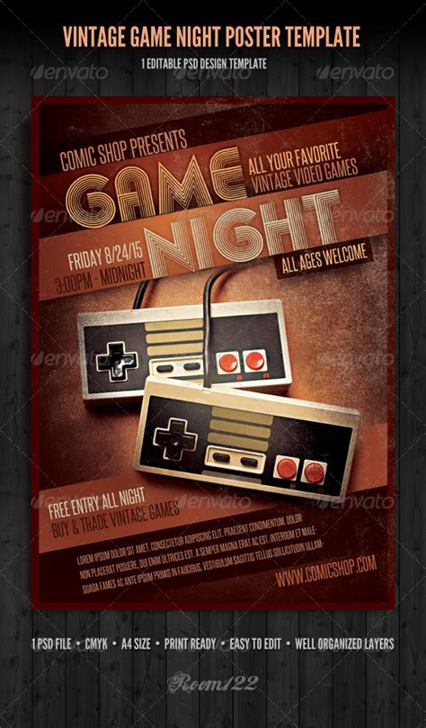 vintage game night poster template graphicriver