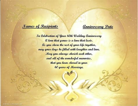 60th anniversary gift or any year you need personalized poem gift golden swans ebay
