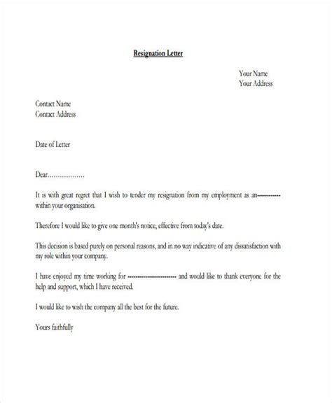 Letter Of Resignation Template Pdf by 32 Resignation Letters In Pdf Free Premium Templates