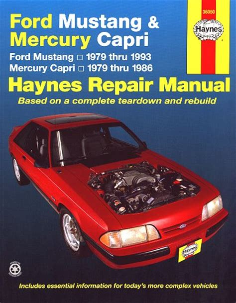 1979 1993 ford mustang automobile repair manual by chilton ford mustang mercury capri repair manual 1979 1993 haynes