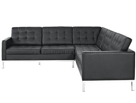 L Shaped Black Leather Sofa by Loft L Shaped Sectional Sofa In Black Leather By Modway