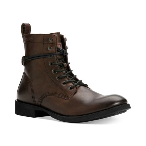 brown motorcycle shoes lyst calvin klein hewett 2 motorcycle boots in