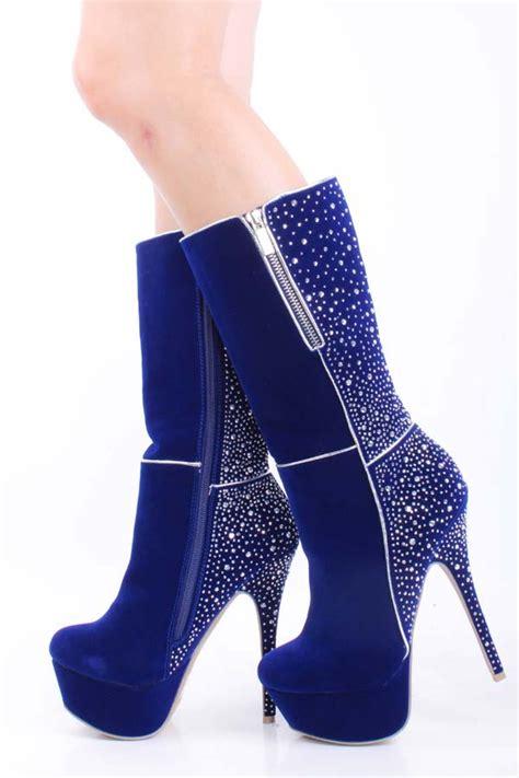 tea length rhinestone royal blue high heel boots