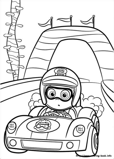 coloring page of race car driver nonny bubble guppies driving racing car coloring page