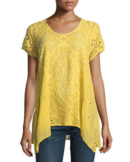 Eyelet Lace Yoke Frill Trim Top lace up silk georgette top