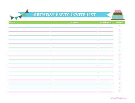 birthday party guest list gift planning printables