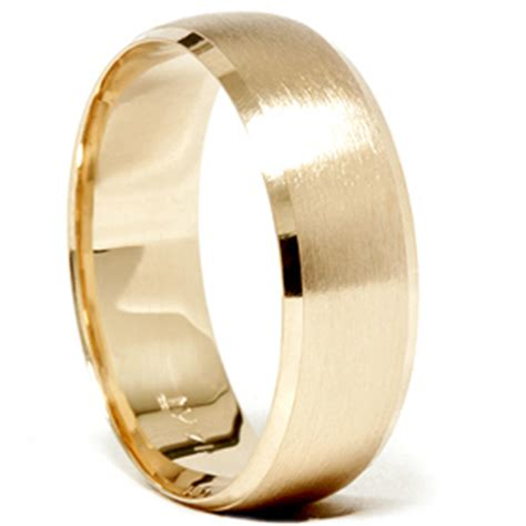 Wedding Rings Gold Band by Mens 14k Gold 8mm Beveled Brushed Wedding Ring Band New Ebay