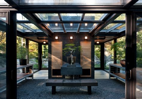 The Glass Shed glass house in the garden modern garage and shed boston by flavin architects