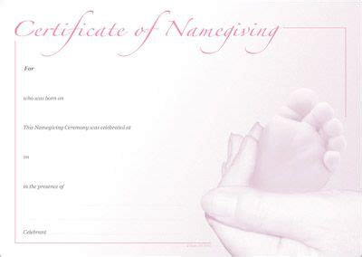 naming certificate template naming certificate template naming certificate pink foot design naming day