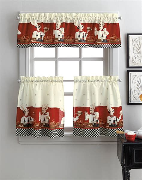 chef kitchen curtains set culinary savory chefs 3 piece kitchen curtain tier set