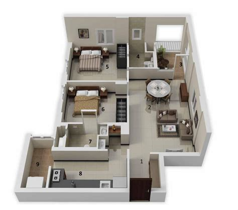 3d house plans 25 more 2 bedroom 3d floor plans