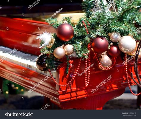 red piano christmas decorations stock photo 119848297