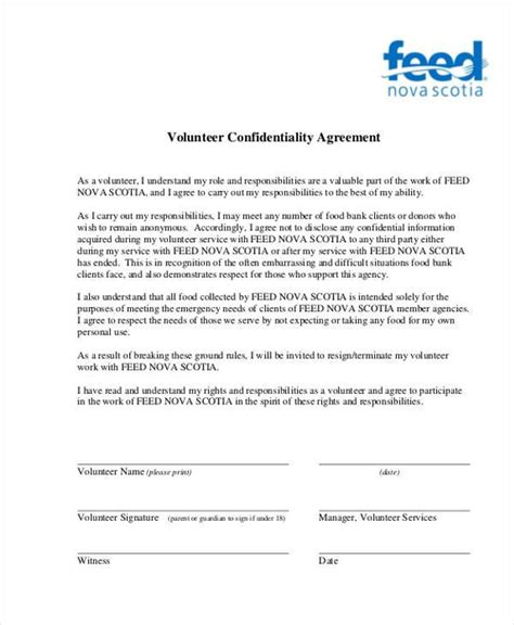 Sle Volunteer Agreement Forms 9 Free Documents In Pdf Volunteer Service Agreement Template