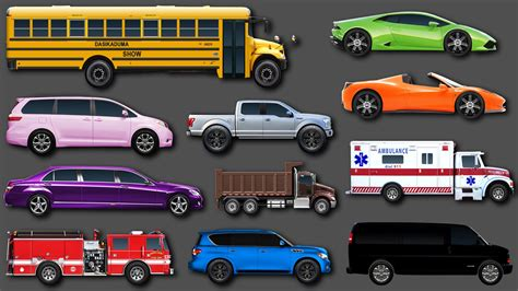 for cars trucks learn colors for children learning vehicles names