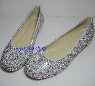 Rhinestone Flats For Wedding by Sliver Crystals Flat Shoes Bling Flat Wedding By