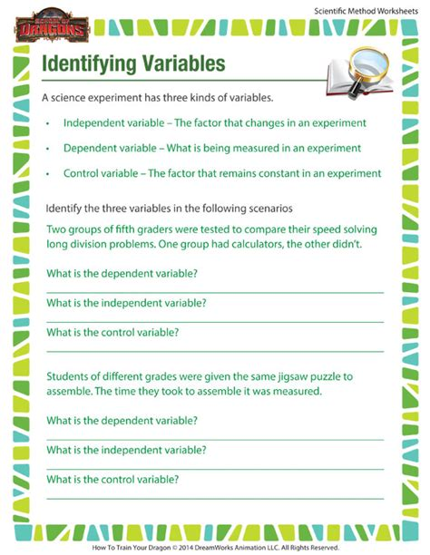 identifying variables worksheet free printable for the