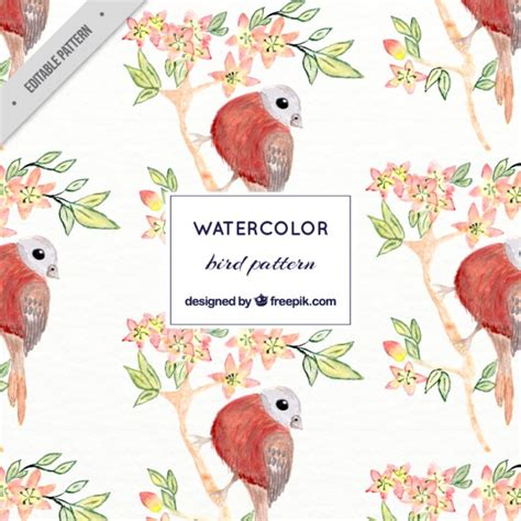 watercolor pattern download watercolor sparrow on a branch pattern vector free download