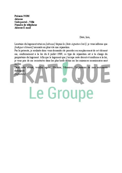 Demande De Location Lettre Lettre Demande De R 233 Parations 224 La Charge Du Propri 233 Taire Par Le Locataire Pratique Fr