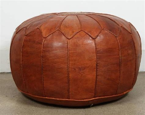 Large Vintage Moroccan Leather Pouf At 1stdibs Moroccan Ottoman Pouf