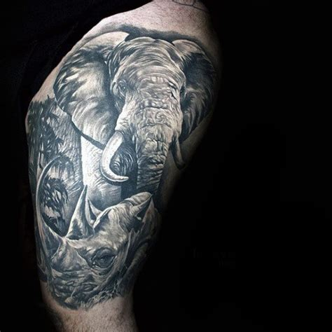 elephant tattoo for men 90 rhino designs for cool rhinoceros ink ideas