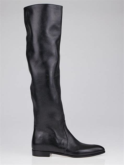 prada black leather pointed toe knee high flat boots size