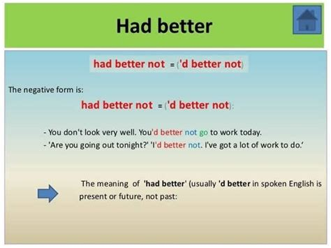 had better to v uses of quot had better do something quot and quot had better not do