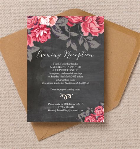 printable wedding evening invitations top 10 printable evening wedding reception invitations