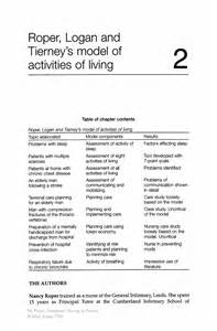 roper logan and tierney care plan template roper logan and tierney s model of activities of living