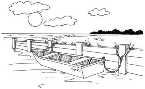 how to draw a rowboat at a seawall in 5 steps boats - Easy To Draw Rowboat